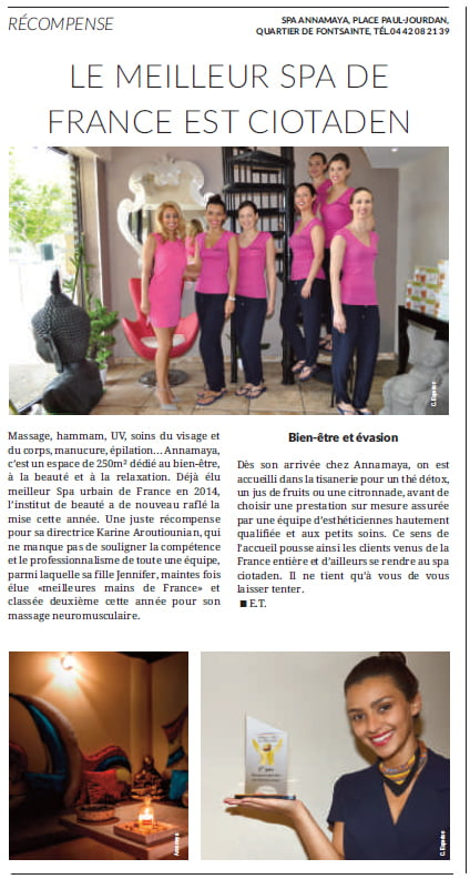 le spa annamaya dans le journal municipal de la ciotat. Black Bedroom Furniture Sets. Home Design Ideas